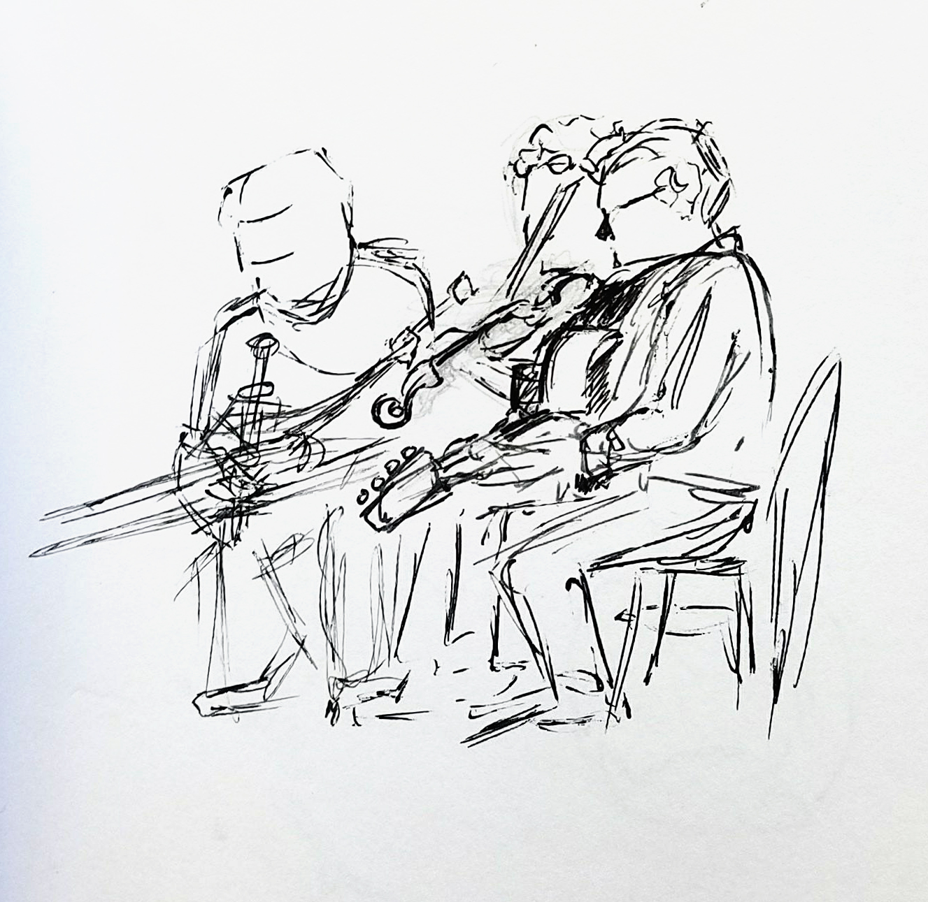 Black ink drawing of a trio of musicians playing guitar, fiddle, and uillean pipes.