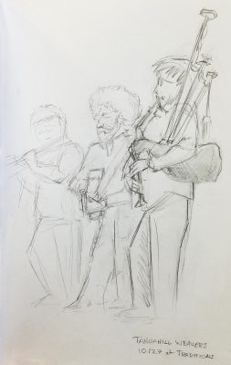 Pencil sketch of three musicians. A bag pipers is in the foreground. A guitarist is in the middle, and a flute player is faintly in the background.