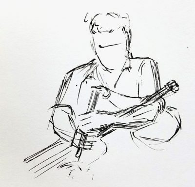 Black ink sketch of a man playing the Irish uillean pipes. The air bag is under his left elbow.
