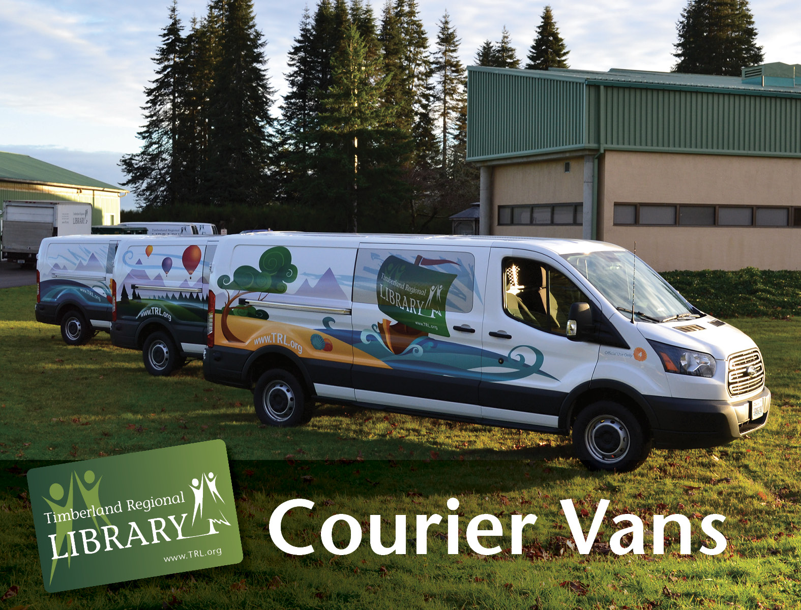 The first three wrapped courier vans.   Photo by Nancy Alcott.